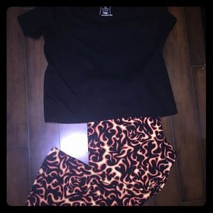 Lane Bryant black v neck top flame pj pants 18/20